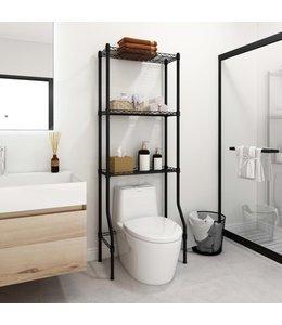 Opbergrek voor boven toilet 3-laags 55x30x150 cm ijzer zwart