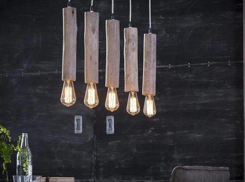 Hanglamp Vin 5-lichts hout