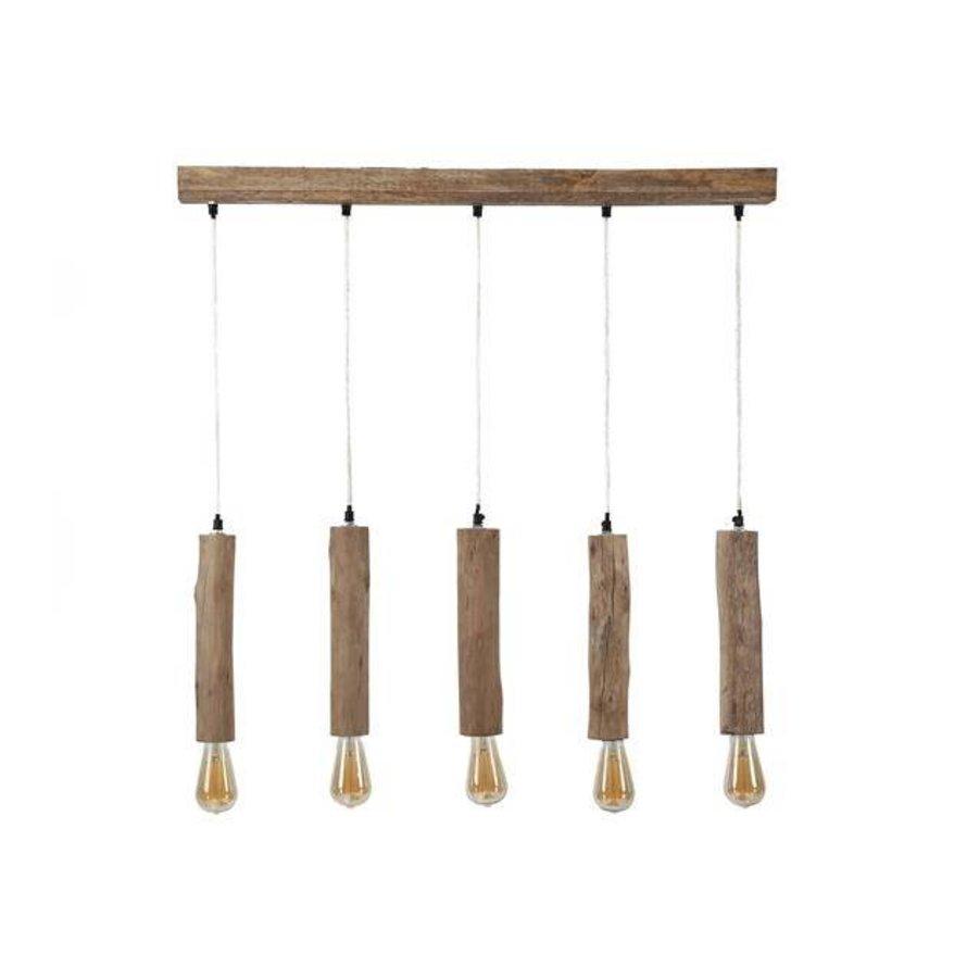 Scandinavische hanglamp Vin 5-lichts hout