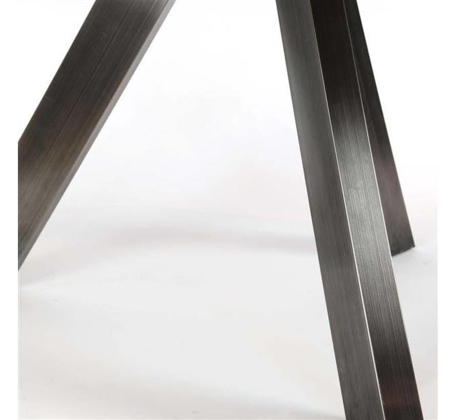 Industriële eetkamertafel Lola rond acaciahout Ø135 cm RVS frame