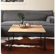 Industriële salontafel Elisa 80 cm mangohout