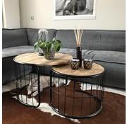 Industriële salontafel set Emma mangohout metaal rond (2 stuks)