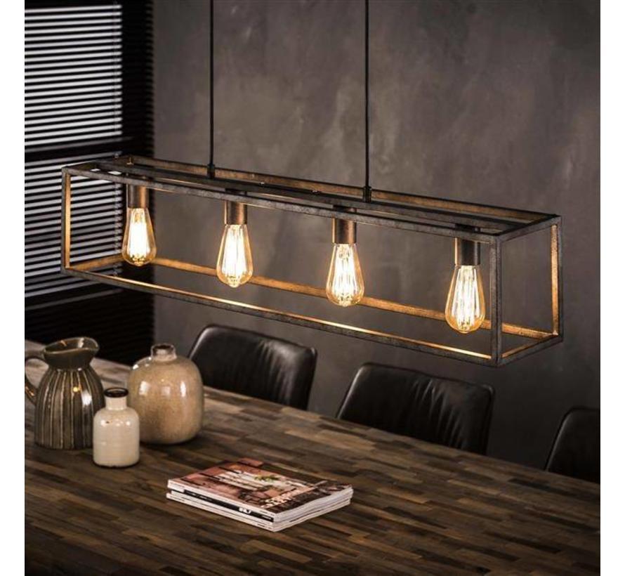 Industriële hanglamp Tyler 4-lichts oud zilver metaal