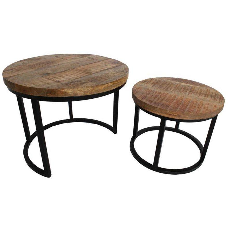 Industriële salontafel set Jelle mangohout metaal rond (2 stuks)