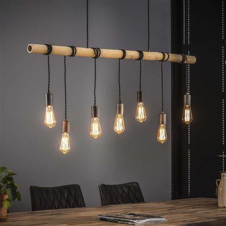 Industriële hanglamp Flo 7-lichts bamboe