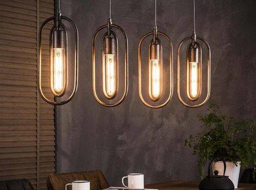 Industriële hanglamp Jolie 4-lichts oud zilver