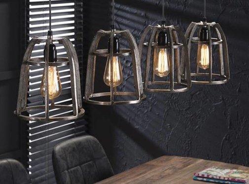 Industriële hanglamp Reese 4-lichts