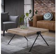 Industriële salontafel Jack Square teakhout 80 cm vierkant