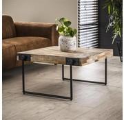 Industriële salontafel Cali teakhout 80 cm vierkant