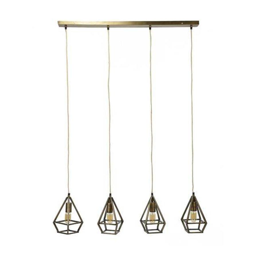 Industriële hanglamp Erin 4-lichts brons