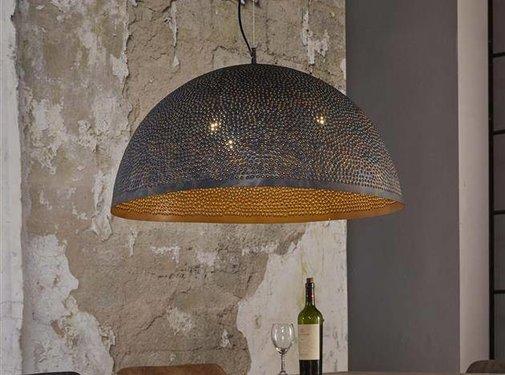Industriële hanglamp Paulien brons metaal 3-lichts
