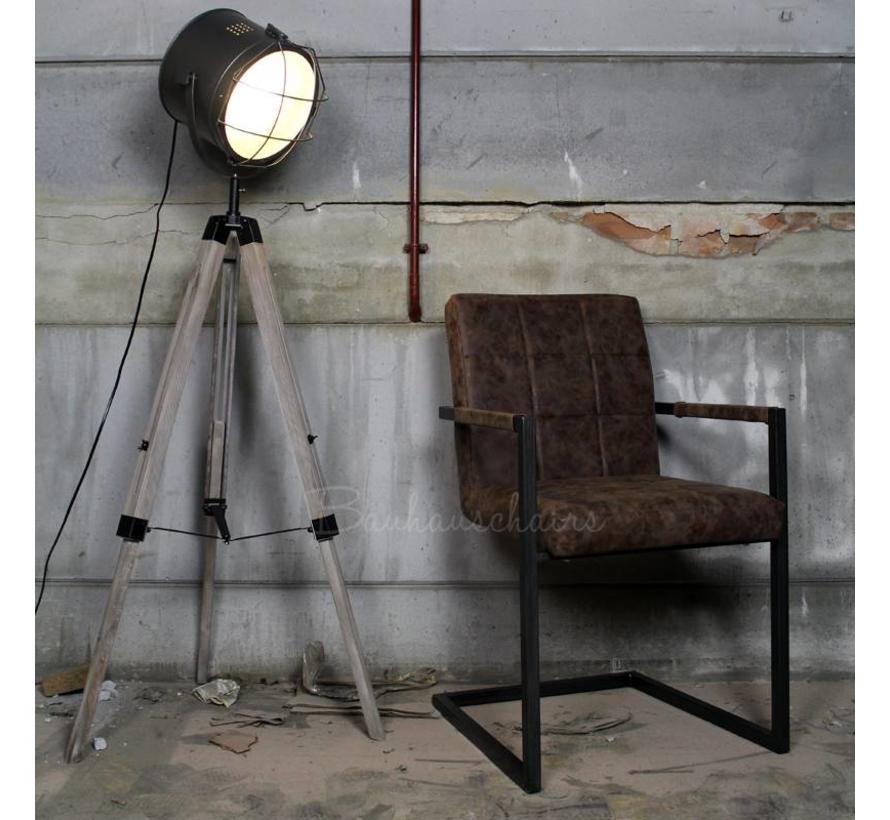 Industriële vloerlamp Tyra hout metaal