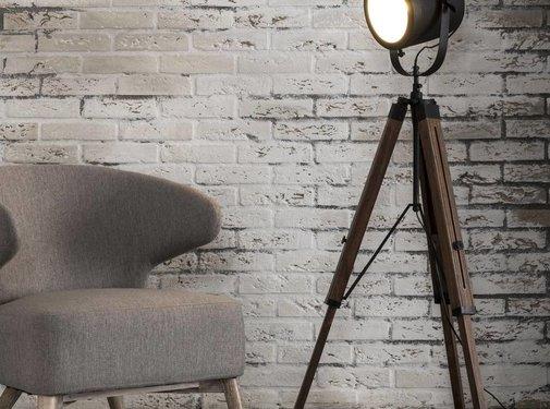 Industriële vloerlamp Tevin hout metaal