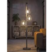 Vloerlamp Holly 3-lichts oud zilver staaldraad