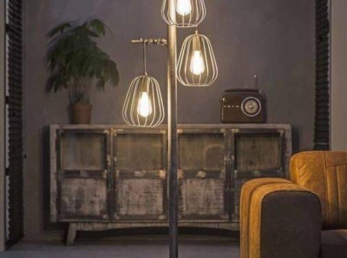 Industriële vloerlamp Holly 3-lichts oud zilver staaldraad