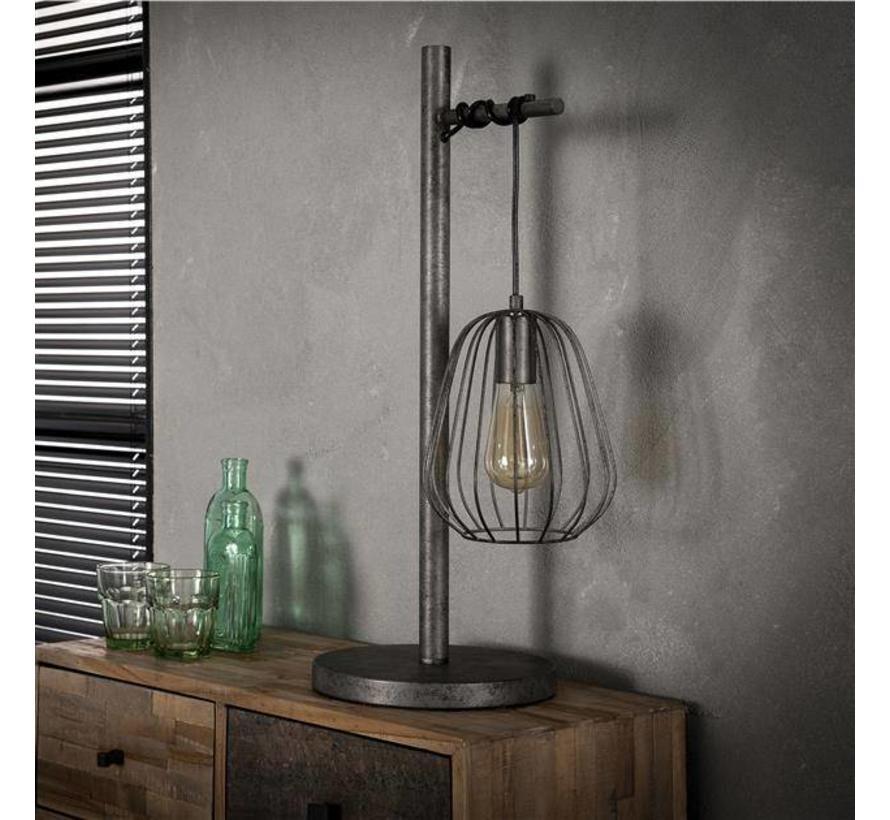 Industriële tafellamp Holly 1-lichts oud zilver