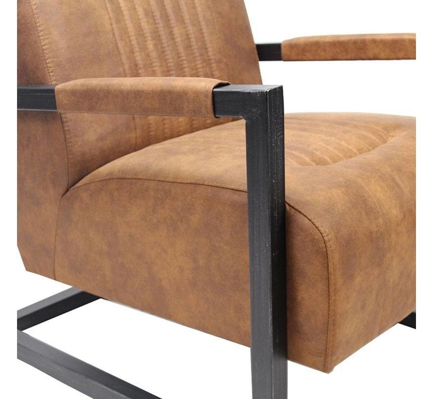 Industriële fauteuil Robert cognac microvezel