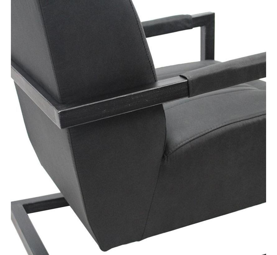 Industriële fauteuil Robert zwartmicrovezel
