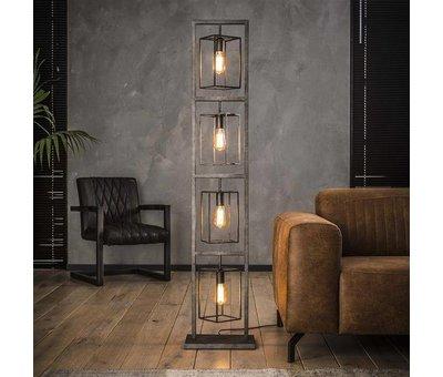 Industriële vloerlamp Roxi 4-lichts oud zilver