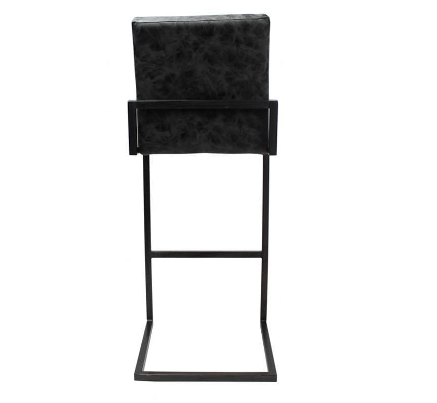 Industriële barkruk David zwart PU Leder 84 cm