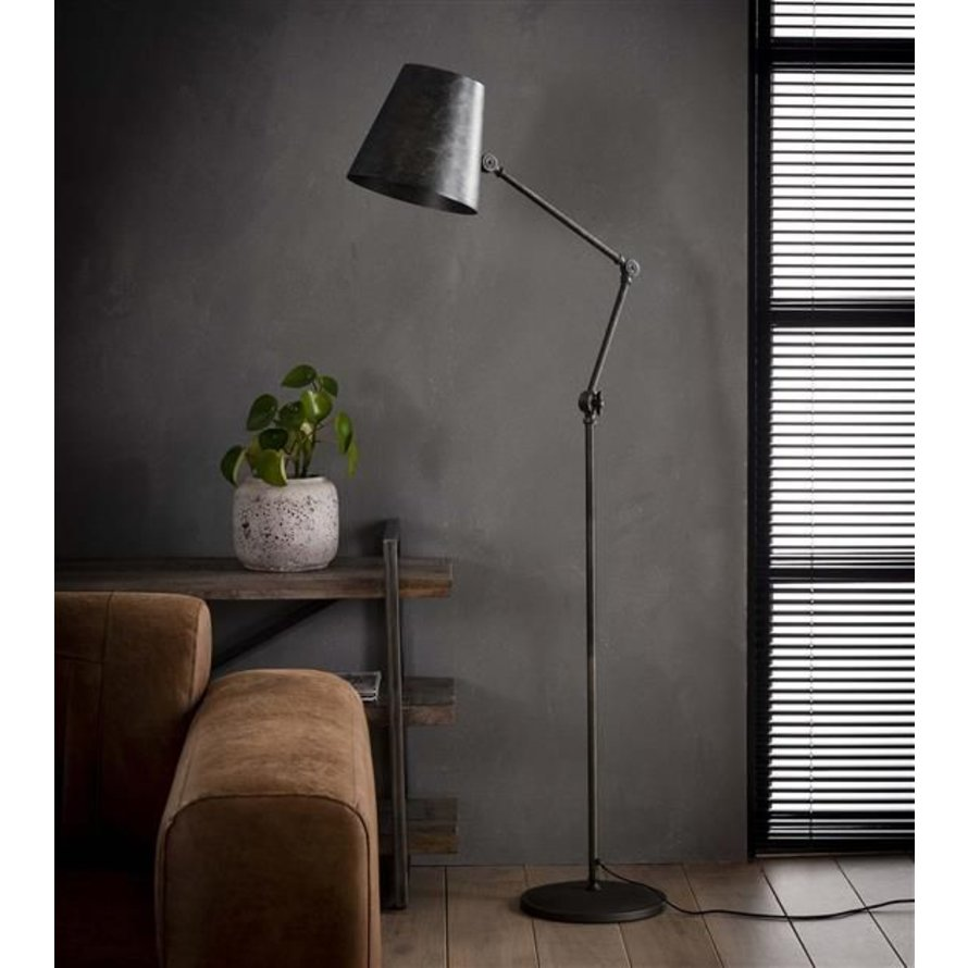 Industriële vloerlamp Bruce charcoal