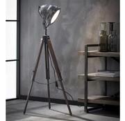 Industriële vloerlamp Casey hout metaal