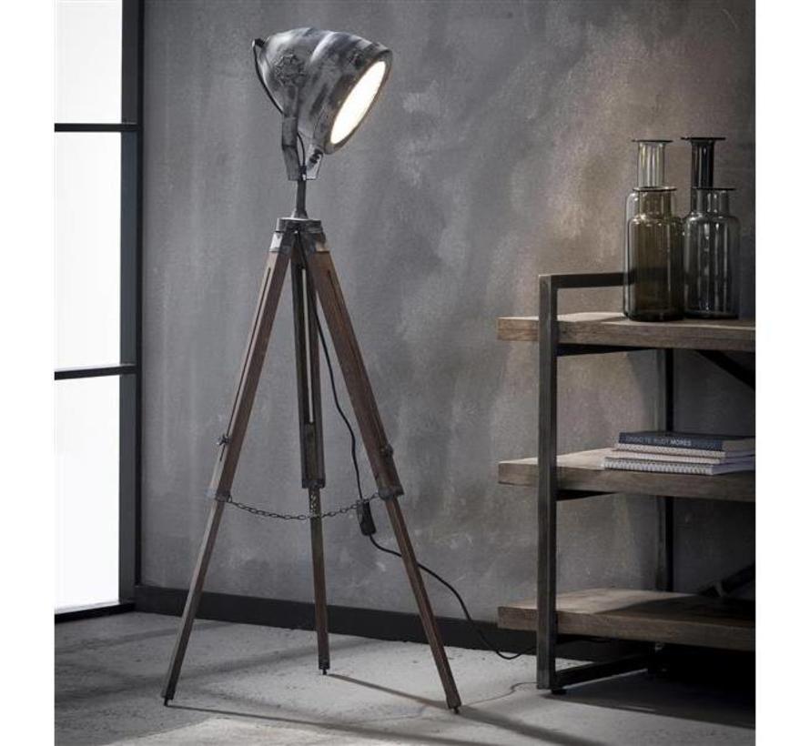 Industriële Vloerlamp Casey Hout Metaal Gratis Verzending