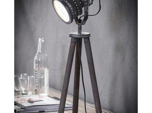Industriële tafellamp Casey hout metaal