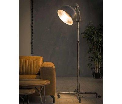 Industriële vloerlamp Indy oud zilver