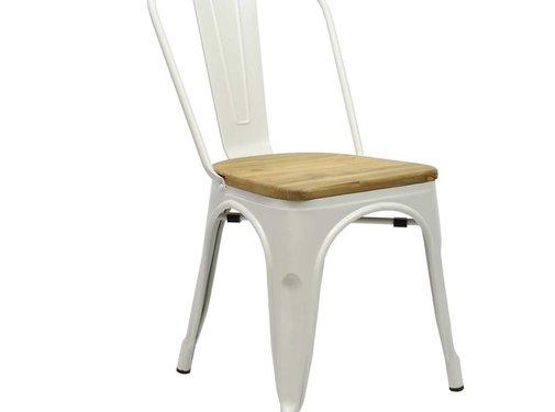 Retro café stoel Graham hout wit