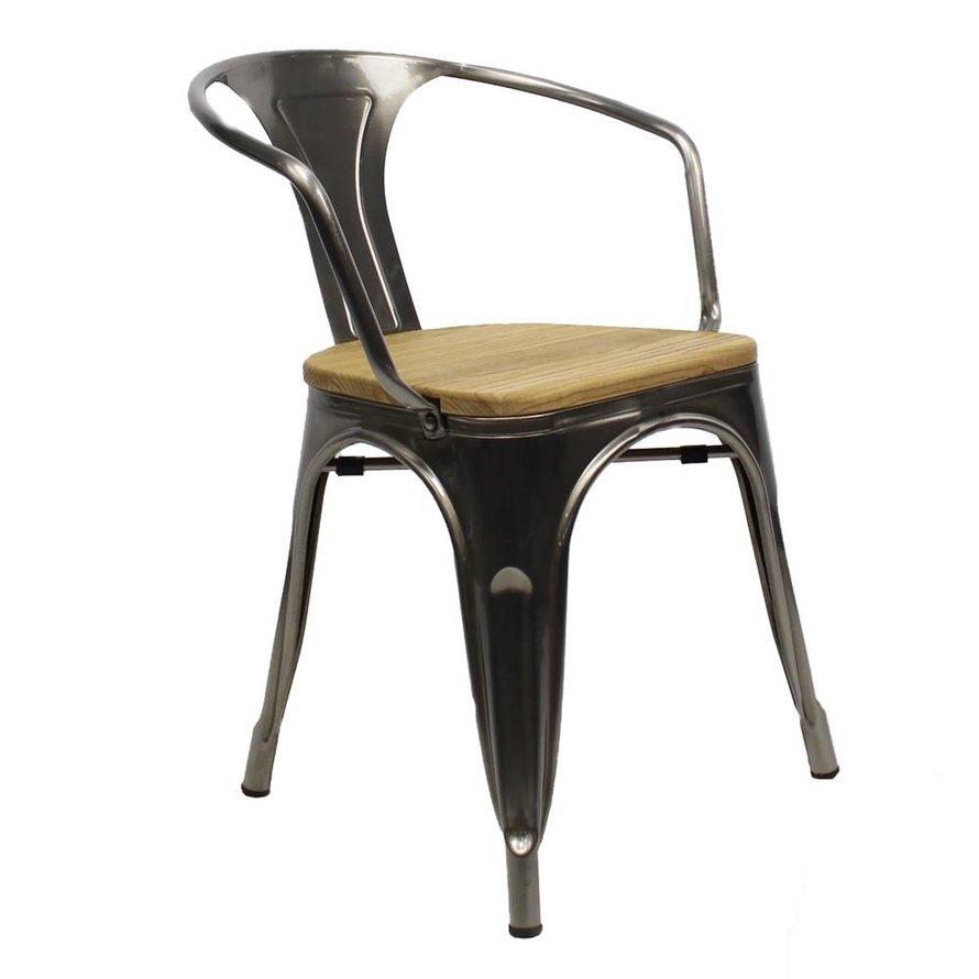 Retro café armstoel Graham hout metaal