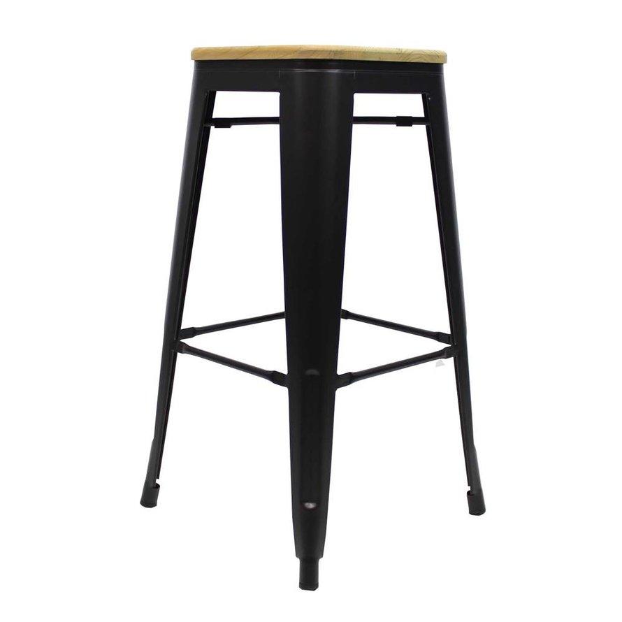 Retro café barkruk Graham hout zwart 76 cm