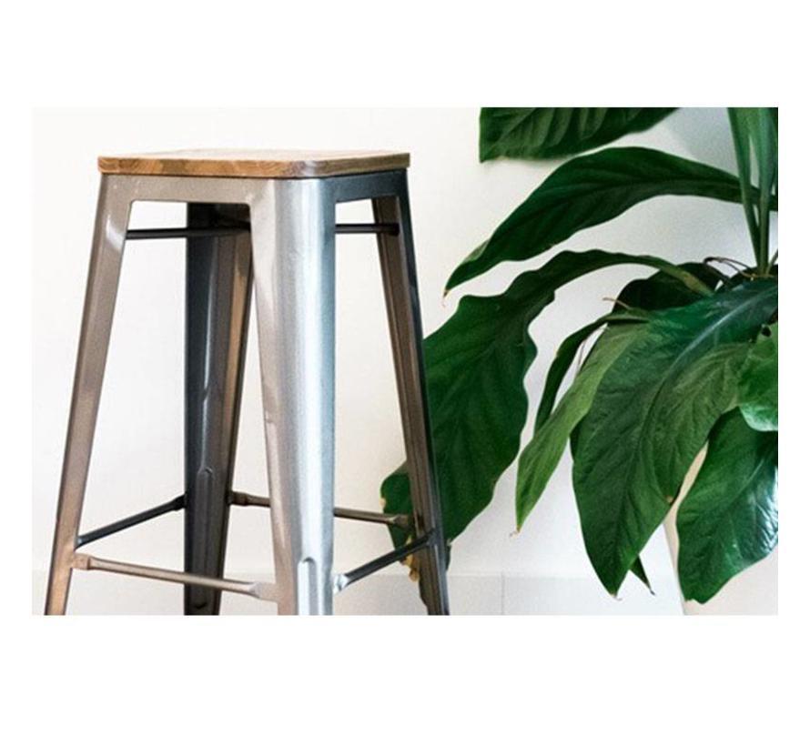 Retro café barkruk Graham hout metaal 76 cm