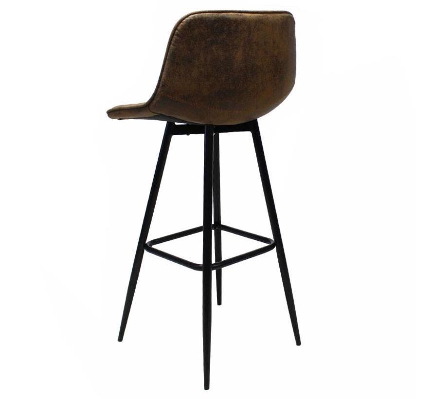 Industriële barkruk Amara vintage bruin - Microvezel 76 cm