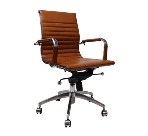 Bureaustoel Met Verstelbare Rugleuning.Bureaustoel Darren Met Lage Rugleuning Cognac Gratis Verzending