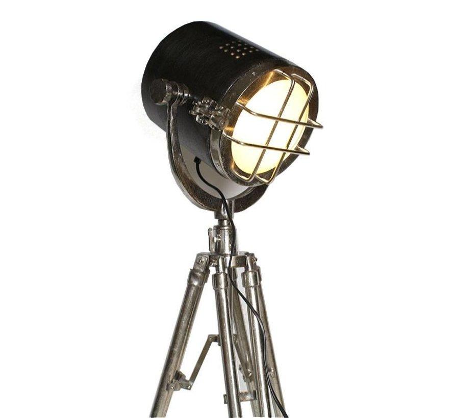 Industriële vloerlamp Chico Raw nikkel