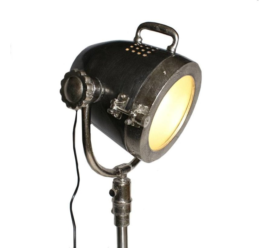 Industriële vloerlamp Kali Raw nikkel