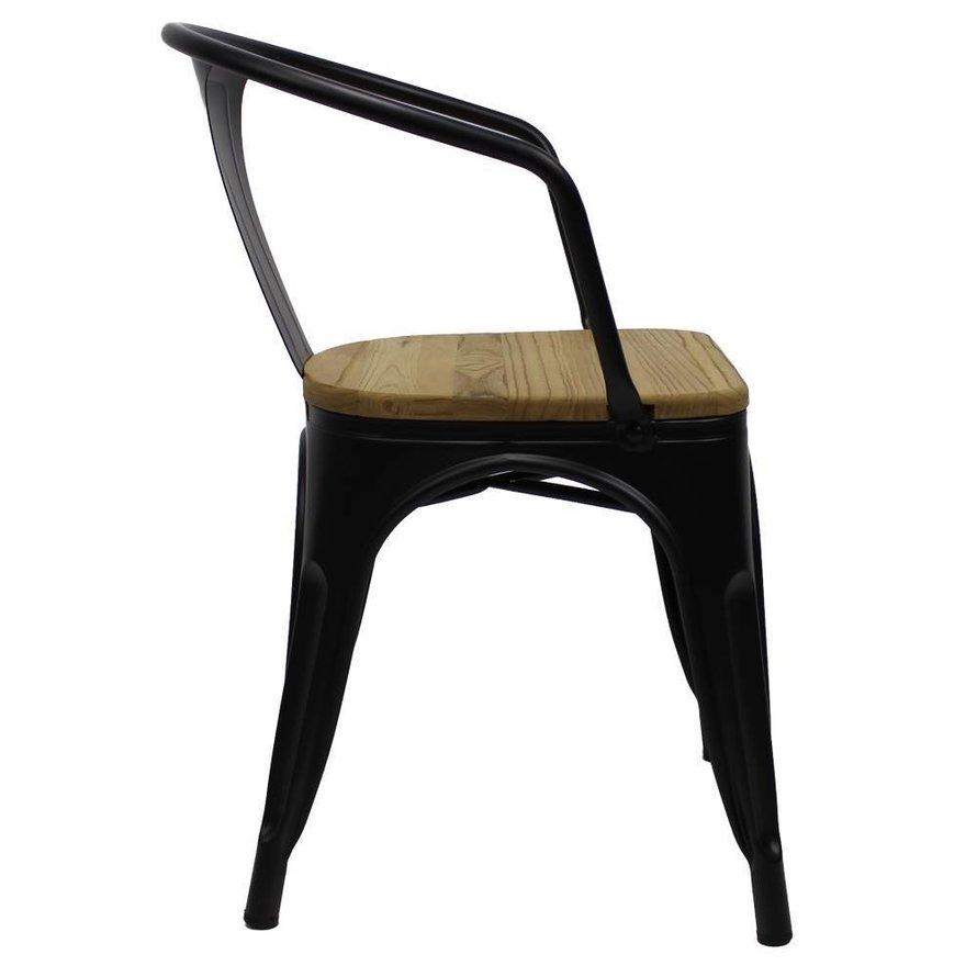 Retro café armstoel Graham hout zwart