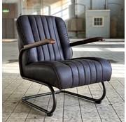 Industriële fauteuil Luca antraciet leer