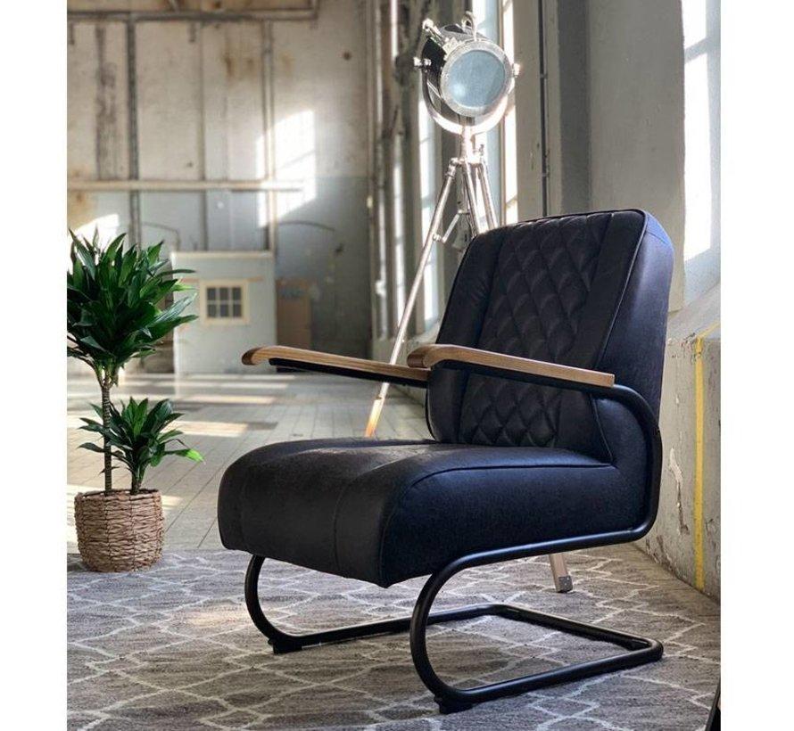Industriële fauteuil Milan antraciet leer