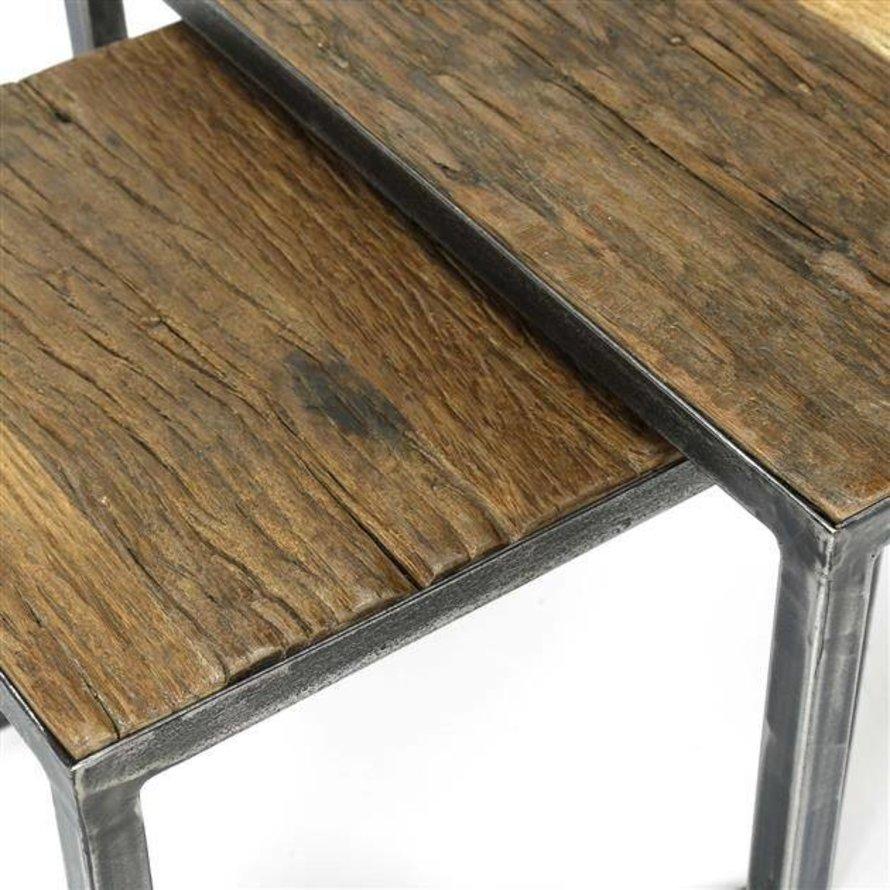 Industriële salontafel set Louise robuust hardhout (set van 2)