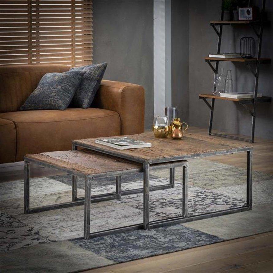 Industriële salontafel set Louie robuust hardhout (set van 2)