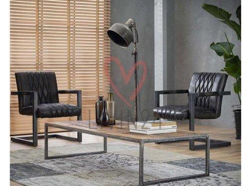 Industriële salontafel Louie robuust hardhout 150x70