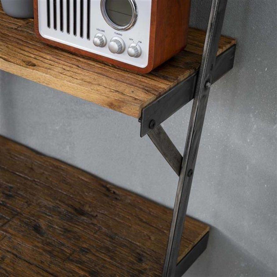 Industriële wandrek Nevi 4-traps hardhout
