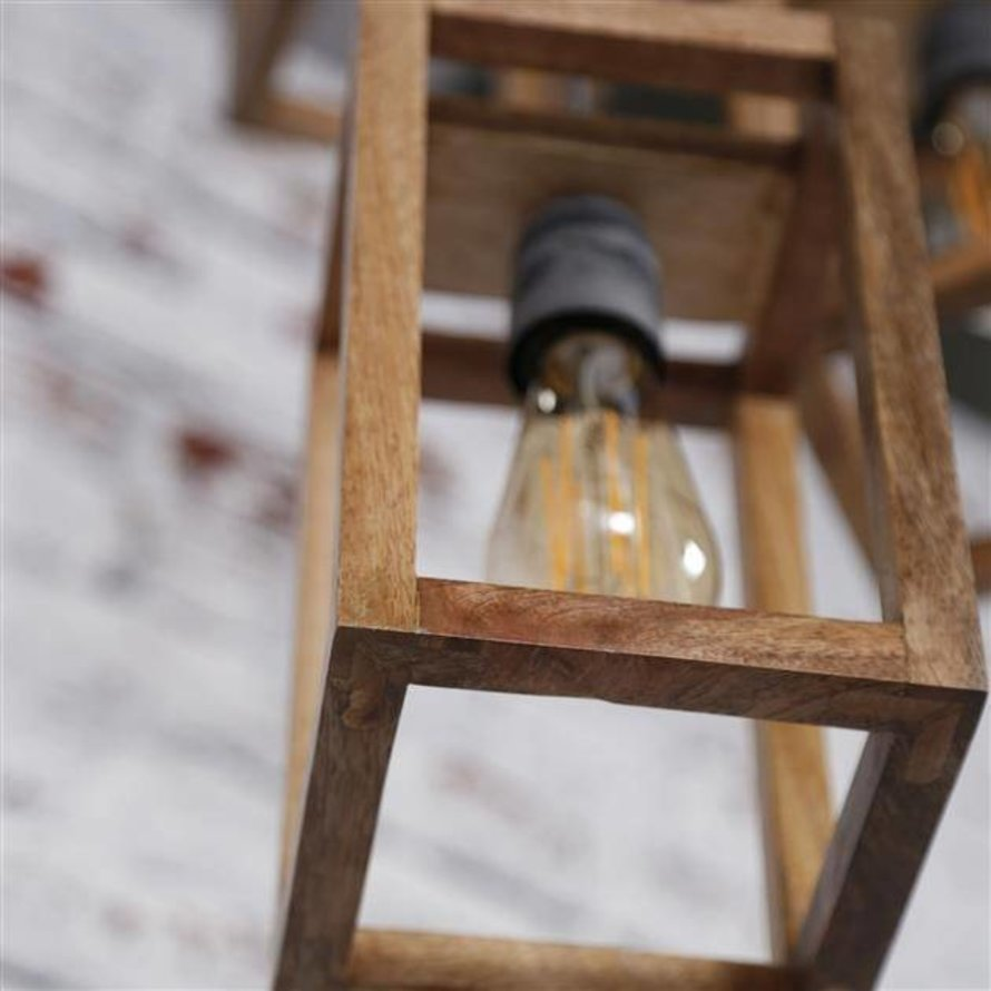 Scandinavische Hanglamp Joy mangohout  3-lichts