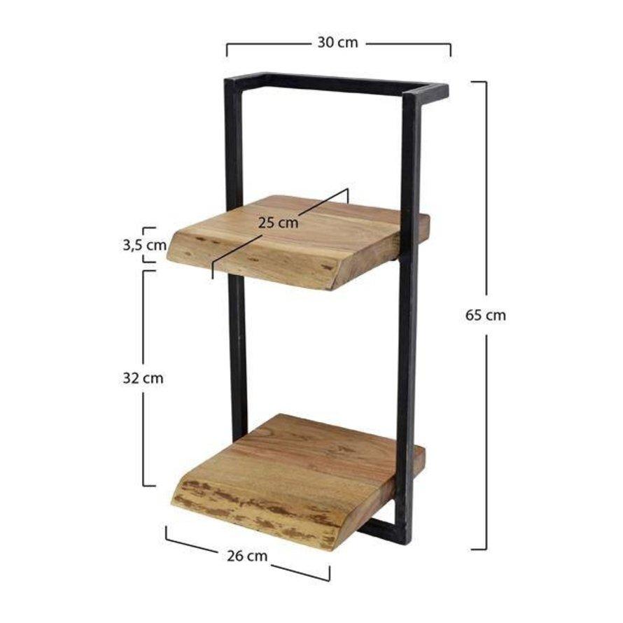 Industriële wandplank Hunter acaciahout 2 planken 30 cm
