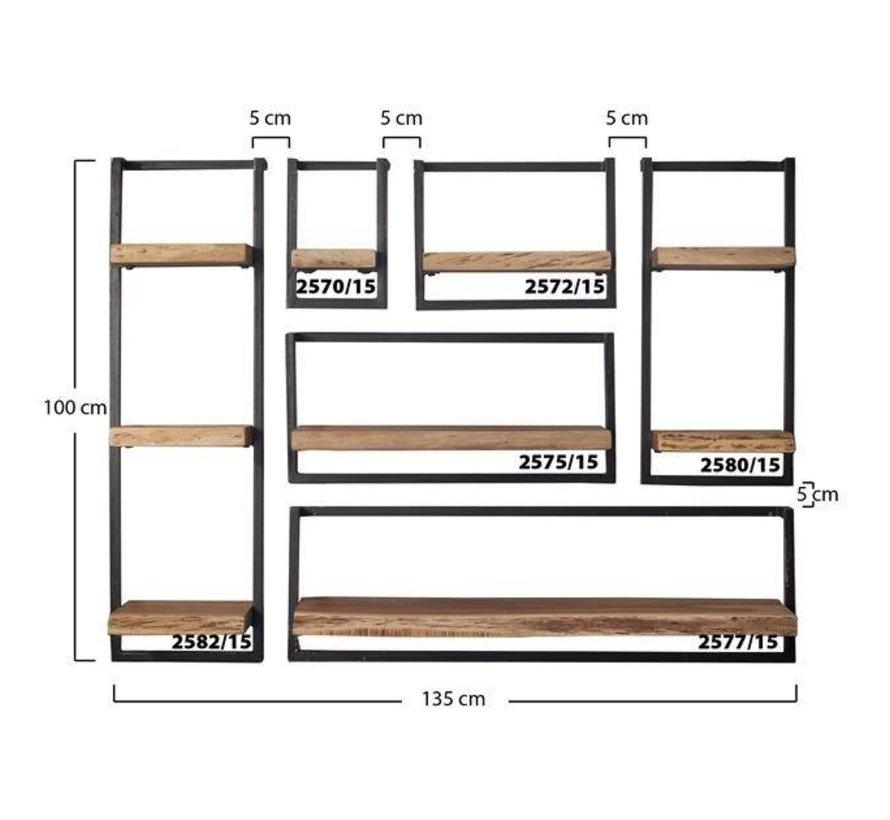 Industriële boomstam wandplank Hunter acaciahout 3 planken 30 cm