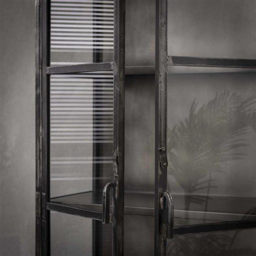Industriële vitrinekast Suri Zwart metaal 2 deuren glas