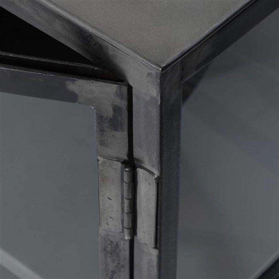 Industrieel dressoir Suro gun metal 4-deurs glas