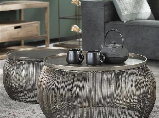 Industriële salontafel set Wired draadstalen frame brons
